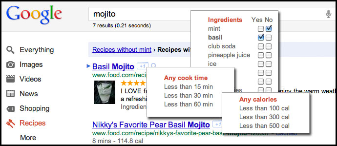 Custom Drinks with Google's New Recipe Search