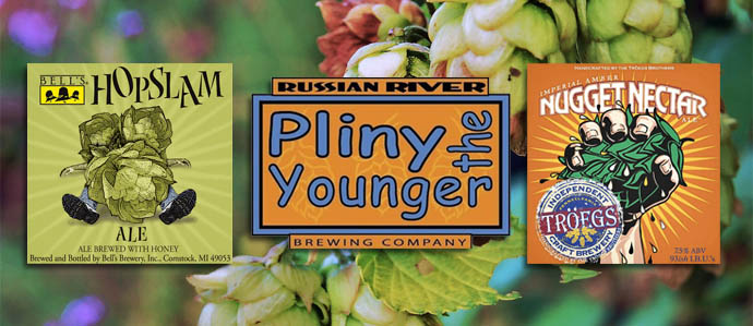 Spring Beer Face-Off: Pliny the Younger, Hopslam Ale & Nugget Nectar
