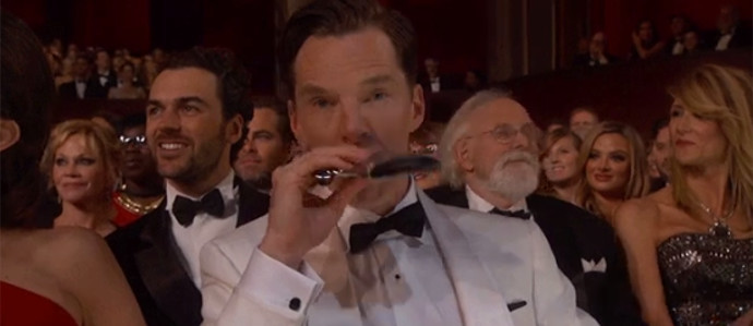 Benedict Cumberbatch Whips Out Flask at The Oscars