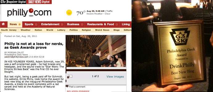 Drink Philly Takes Home Best New Blog Award at Philly Geek Awards